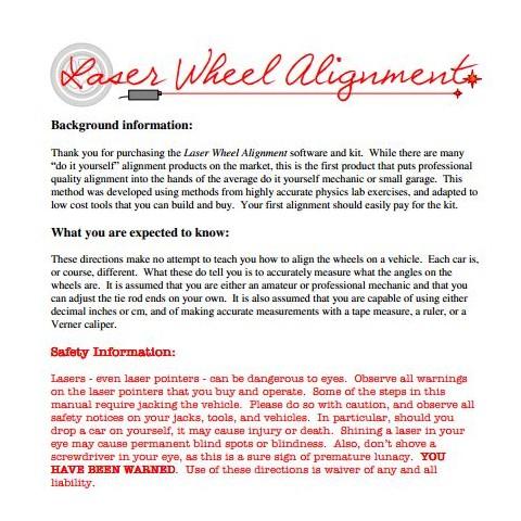Laser Wheel Alignment System Instructions