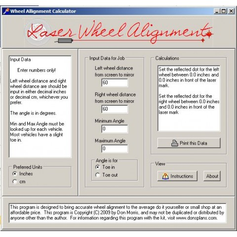 Laser Wheel Alignment Software
